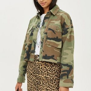 Topshop army green Camo cropped jacket size 4/6